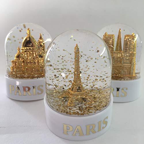 VIANAYA Lot de 3 Boules de Neige Paris Tour Eiffel, Notre Dame et Sacre Cœur - Taille Mini 6CM - Socle Blanc Plastique de qualité - Paillettes dorées - Made in France