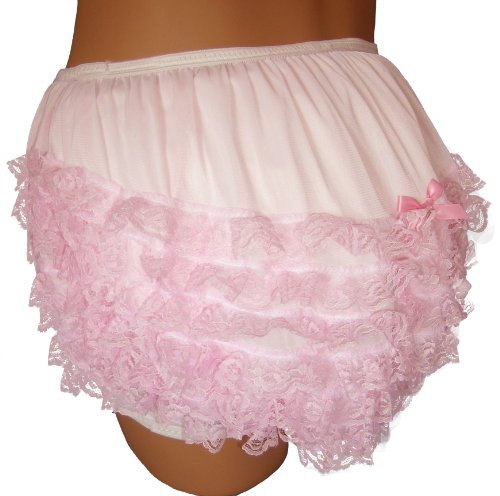 Baby Pants Pastel Pink Frilly Rhumba Adult Pullon Plastic Pants - 2XLarge