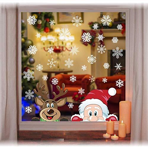 heekpek Adesivi per Finestre Decorazioni per Finestre con Focchi di Neve Adesivi per Babbo Natale Adesivi in PVC Atossici Decorazioni Natalizie per la Casa e Il Commercio (D)