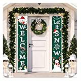 Christmas Porch Decorations Door Banner - Outdoor Xmas Decor Set - Front Door Merry Christmas Sign for City, Country & Farmhouse Clearance Wall Hanging Outside (xs15)