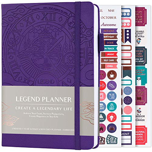 Legend Planner - Deluxe Weekly & Monthly Life Planner to Hit Your Goals & Live Happier. Organizer Notebook & Productivity Journal. A5 Hardcover, Undated - Start Any Time - Purple