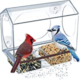 Birdious Transparent Window Bird Feeder House: Wide, See Through with Strong Suction Cups and Large Sliding Tray - Clear Acrylic Birdfeeder for Outside. Best Birding Gift