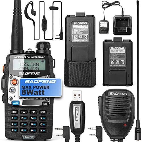 BaoFeng UV-5R 8W Ham Radio Walkie Talkie Dual Band 2-Way Radio with an Extra 3800mAh Battery Handheld Walkie Talkies with Baofeng Hand Mic and Programming Cable