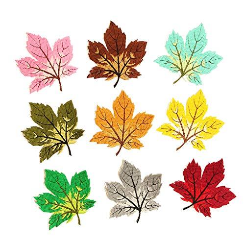 N/A. Juego de 9 parches de bordado de hojas de arce de colores mezclados, para coser o planchar en la ropa, manualidades, bricolaje, pegatinas, camisetas, vaqueros, chaquetas, decoraciones