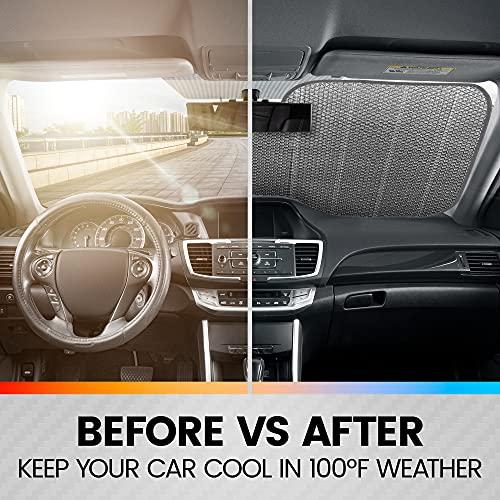 Black White/Gray American Flag - Front Windshield Sun Shade - Accordion Folding Auto Sunshade for Car Truck SUV - Blocks UV Rays Sun Visor Protector - Keeps Your Vehicle Cool - 58 x 28 Inch