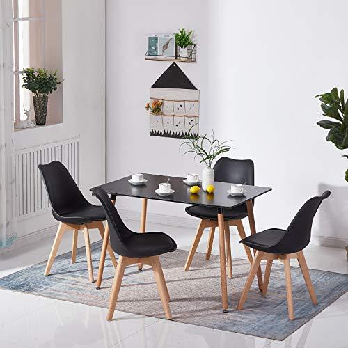 H.J WeDoo Rechteckig Esstisch Buchenholz für 4-6 Stühle Esszimmertisch Küchentisch MDF Schwarz 110 x 70 x 73 cm (Nur Tisch)