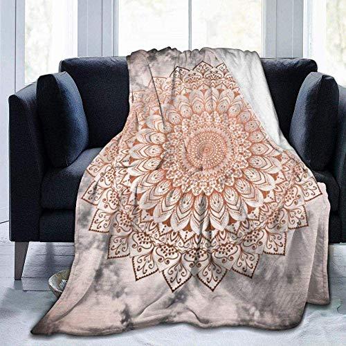 CVMFE Throw Blanket,Rose Night Mandala,Warm Ultra Soft Flannel Fleece Light Weight Blanket Sofa Bed Living Room Bedroom for Adult Children