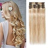 SEGO Extension Cheveux Naturel a Clip - Rajout Vrai Cheveux Humain Lisse Remy Human Hair 8 Mèches - Epaisseur de Base 45cm - 18P613#Ash Blond & Blond Blanchi