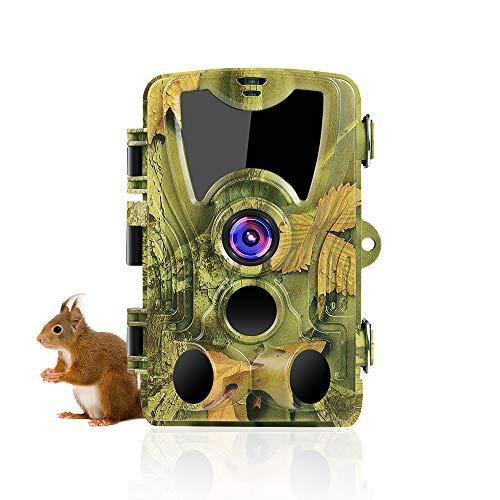 SUNTEKCAM Cámara de caza de 24 MP 1080P para visión nocturna por infrarrojos, detector de movimiento IP66, antipolvo, cámara gran angular de 120 °, con tarjeta de memoria 8 G HC-801C