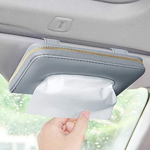 Car Visor Tissue Holder, Sun Visor Napkin Holder Backseat Tissue Case, Premium PU Leather Car Tissue Box Holder for Car Sun Visor, Car Backseat and Vehicle Door Decorations, 9.8'x 5.0'x 1.5'(Grey)