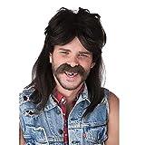 Peluca de salmonete para hombre peluca de rockero punk larga negra disfraces de halloween peluca de hombre con gorro de peluca