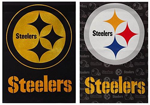 Team Sports America NFL Pittsburgh Steelers Suede Glitter Embellished Logo 2 Sided House Flag, Medium, Multicolored