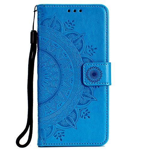 Generic Handyhülle für Galaxy A7 (2018) Hülle Leder Schutzhülle Brieftasche mit Kartenfach Magnetisch Stoßfest Handyhülle Case für Samsung Galaxy A7 2018 - XIHOH010196 Blau