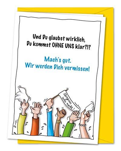 XL-Karte zum Abschied von Kollegen oder Freunden in Rente, Ruhestand, Umzug, Ausland inkl. Umschlag (DIN A5)