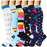 6 Pairs Compression Socks for Men and Women 20-30 mmHg Nursing Athletic Travel Flight Socks Shin Splints Knee High