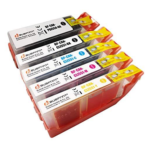 5 Bubprint Druckerpatronen kompatibel für Canon PGI-550 CLI-551 XL für Pixma IP7200 IP7250 IX6850 IP8750 MG5450 MG5550 MG5650 MG6350 MG6450 MG6650 MG7150 MG7550 MX725 MX920 MX925 Multipack