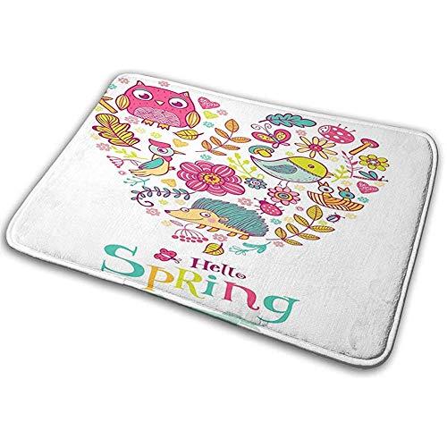 Felpudo Alfombra de baño Alfombra de Piso Alfombra Hola Doodle Hola Primavera Palabras Impresas con Marco en Forma de corazón de Animales Flores
