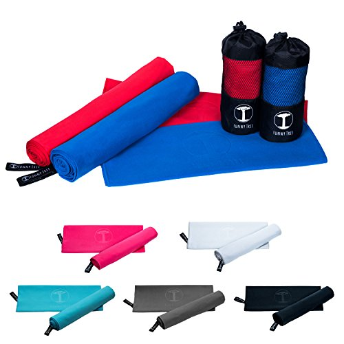 Funny Tree® Mikrofaser Handtücher Set (rot) I 70x140cm großes Strandtuch + 40x80cm Sporthandtuch | schnelltrocknend platzsparend, optimal für jegliche Outdoor Aktivitäten