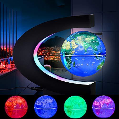 OWRORA Globo Flotante Lámpara de Escritorio de levitación magnética Luces LED Forma de C Mapa Educativo del Mundo, Decoración de Escritorio para el hogar / Oficina, Regalos de cumpleaños, (Azul)