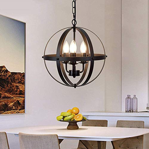 Depuley - Lámpara de techo industrial de metal negro, estilo vintage, E14, para comedor, diámetro de 32 cm y aplicable para restaurante, escalera, vestíbulo y habitación, bombillas no incluidas.