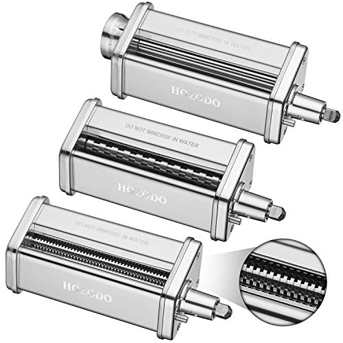 Pasta Maker Machine for Kitchenaid Mixer Attachments with 3 Pieces Pasta Roller and Cutter Set as Kitchenaid Mixer Accessories by Hozodo
