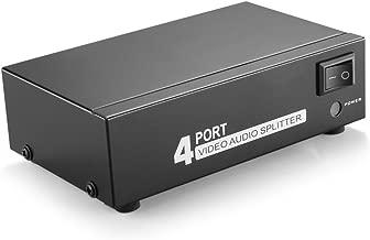 TNP AV Splitter 1 in 4 Out 3 RCA Composite Video L/R Audio Splitter Amplifier Distribution Split Box for Cable Box DVD DVR Analog TV