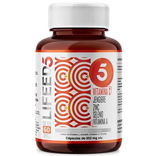 LIFEED Vitamina C + Jengibre Zinc Selenio Vitamina A | LF5 Capsulas 60 Dias | LIFEED5 C+ para sistema inmune reforzado | Ing Naturales