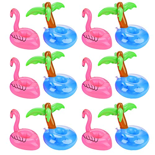 Outgeek Floating Drink Holders, 12 Pcs Inflatable Palm Tree Drink Holders Flamingos Flamingo Drink Holder Cup Holder for Pool Party Water Fun (12 PCS Flamingo and Palm Tree)