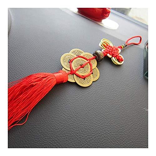 LSBXWL Porte-clefs Noeud Chinois Antique Coin Chanceux Traditionnel Charme Keychain Mascot Empereur Argent Accueil Pendentif Décoration Cuivre Monnaie Collier