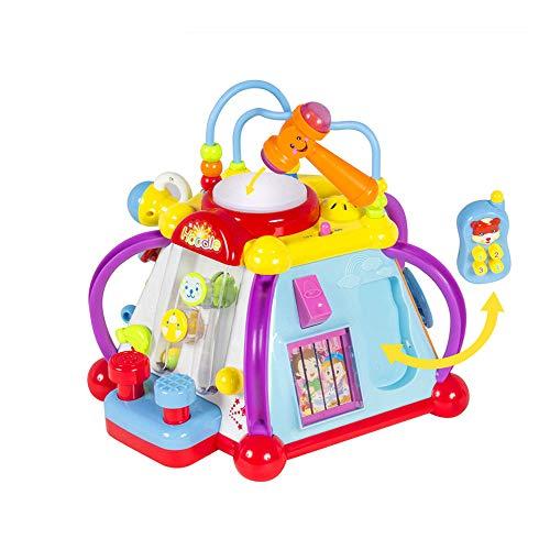 QREZ Early Education Musical Cube D'activités Toy Centre Jouer Éducatif Électronique Multifonctionnel d'apprentissage Jouets Maison pour 1 an Old Girl and Boy