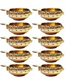 Craftsman Handmade Golden Engraved Kuber Brass Diwali Diya. Traditional Indian Pooja Puja Oil Lamp. Deepawali Decoration Gift Items. (10PC Set)