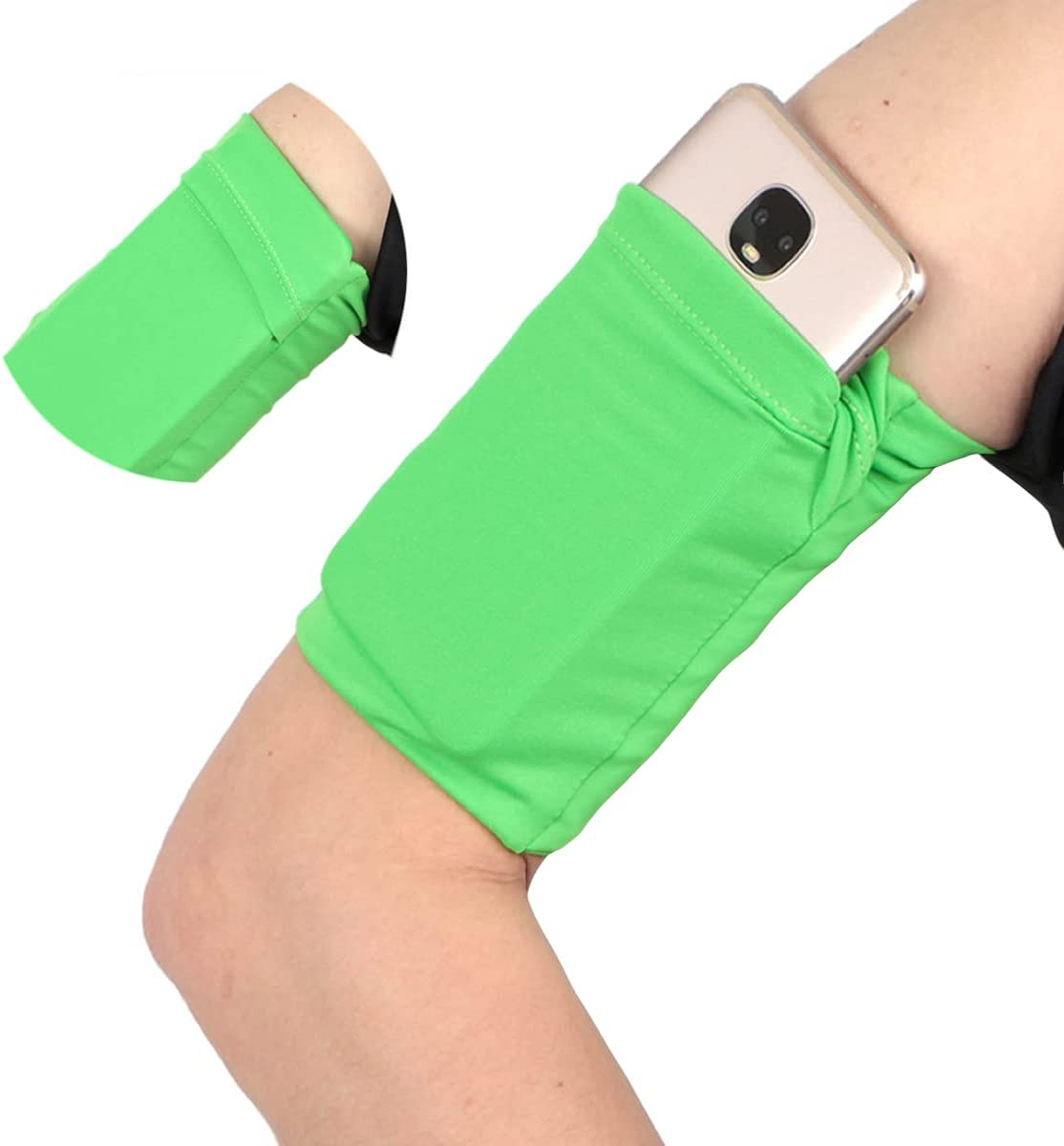 Small Walking Armband Wristband for Cell Phone - Cellphone Arm Band Sleeve Strap Pouch Pocket for Compatible with iPhone 6 6S 7 8 X XR XS 11 12 Pro for Hiking Camping Trekking - L5.7xW4.7'' Green