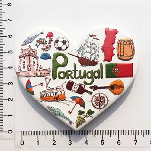 Weekinglo Souvenir Portugal 3D Imán de Nevera Resina Artesanía Hecha A Mano Turista Viaje Ciudad Recuerdo Colección Carta Refrigerador Etiqueta