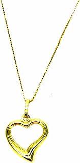 Collana Oro Giallo 18kt (750) Catenina Veneta Pendente Cuore Aperto Cuoricino Donna Ragazza