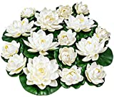 16Pcs Artificial Lotus, White Floating Foam Lotus Flowers, Artificial Water Lily Pads, Lotus Lilies Pad Ornaments Realistic Water Lily for Garden Koi Fish Pond Aquarium Pool Wedding Decor