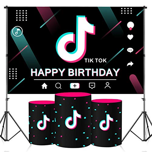 Heboland TIK Tok Backdrop for Party Decorations,3x5ft Happy Birthday Banner Social Media Music Theme for Girls Birthday Sweet 16th 21th Photography Photo BoothProps