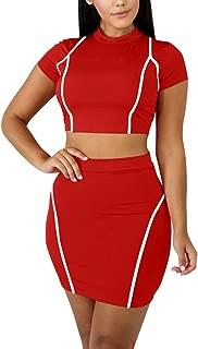 Women's Sexy 2 Piece Crop Top Mini Skirt Set Short Sleeve Bodycon Club Dress