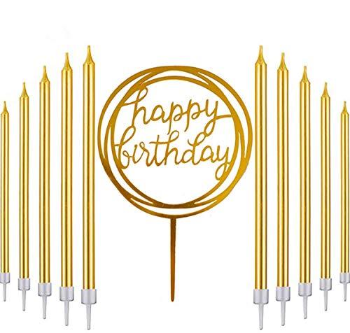 Queta Geburtstag Kerzen, Hoch Geburtstagskuchen Kerzen, Happy Birthday Kerzen mit Haltern für Kinder und Erwachsene Geburtstag, Hochzeit Party Deko (31 Stük)
