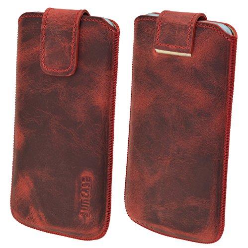 Original Suncase Tasche für / Samsung Galaxy S5 mini (SM-G800F) / Leder Etui Handytasche Ledertasche Schutzhülle Case *Lasche mit Rückzugfunktion* Hülle / antik-rot