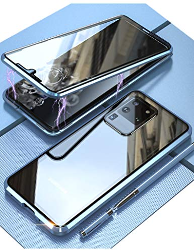 KumWum Magnético Case para Samsung Galaxy S20 Ultra 5g 360 Grados Clear Vidrio Templado 9H Doble Carcasa con Metal Protector de Lente de Cámara Teléfono Funda - Azul