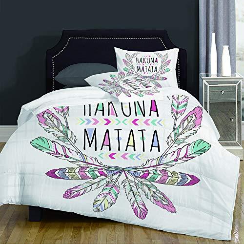 not Juegos de Fundas para edredon,Ropa de Cama,Aztec Native American Hakuna Matata Lettering Graphic Summer Feather,Fibrae Xtrafina,Edredones y 2 Almohadas