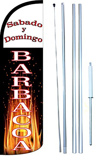 Barbacoa Sabado Y Domingo Windless Swooper Tall Feather Banner Flag Kit (11.5' Tall Flag, 15' Tall Hybrid Flagpole, Ground Mount Stake) by The Flag Depot