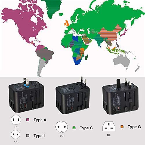 LEICKE Universaler Reiseadapter internationaler Reisestecker AC Steckdosenadapter, 6,5 A für 3 USB A Anschlüsse und 2 Typ C für mehr als 224 Länder mit US/EU/UK/AUS Steckern