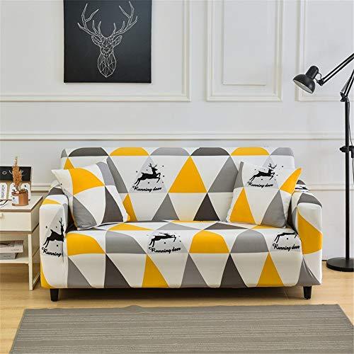 YMOMG - Funda de sofá elástica antideslizante para todo incluido, Ciervo triangular, 4-seater 235-300