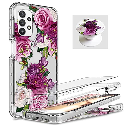 [ 3 Items ] AMPURSQ for Samsung A32 5g Case with Screen Protector, Samsung A32 5g Case for Women Girl Shockproof Protective Purple Floral Case for Samsung Galaxy A32 5g [Not fit 4g] (Purple Floral)