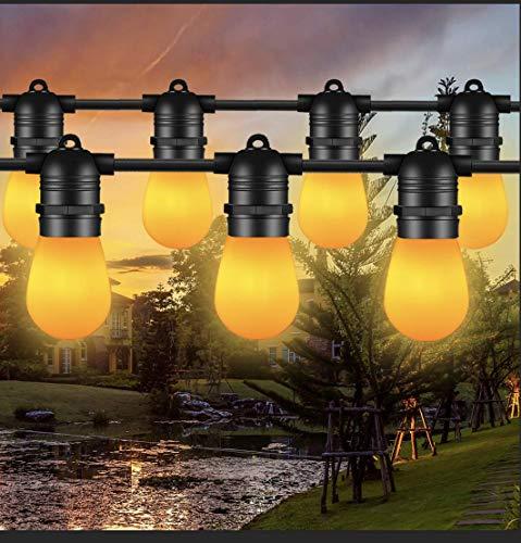 FOCHEA - Cadena de luces LED para exteriores, 14,63 m, IP65, resistente al agua, cadena de luces para jardín con 15 bombillas LED para bodas, fiestas, interior y exterior