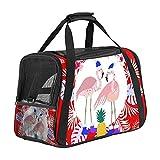 Transportín Perro Gato Flamingo Palm Bolsa de Transporte Plegable para Mascotas Perro y Gato con Correa de Hombro Ajustable 43x26x30 cm