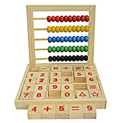 BRIGHTLY COLORED WOODEN BEADS :it is easy to attract children's attention. MANY WAYS TO LEARN: Practice counting, ABC Blocks Letters,colors, and numbers including: addition, subtraction, multiplication, and division. EASY GLIDING BEADS: The beads smo...