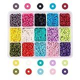 NBEADS 5700 Piezas de 15 Cuentas de Arcilla Polimérica Hechas A Mano de Colores, Cuentas Espaciadoras Planas Redondas de 4 mm para Hacer Joyas de Bricolaje, Agujero: 1 mm