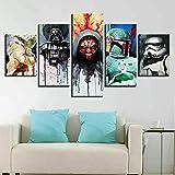 AWER Lona Murales Cuadro Moderno en Lienzo 5 Piezas Caracteres de Películas Star Wars HD Arte De Pared Imágenes Modulares Sala De Estar Decoración para El Hogar 150X80Cm